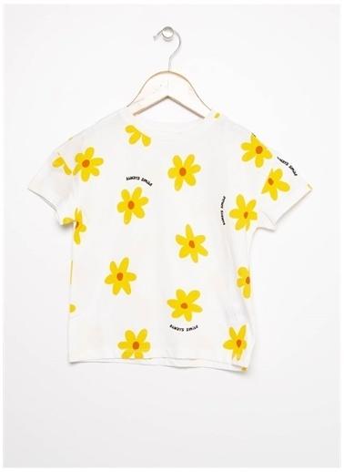 Limon Company Limon Kız Çocuk Ekru Bisiklet Yaka T-Shirt Ekru
